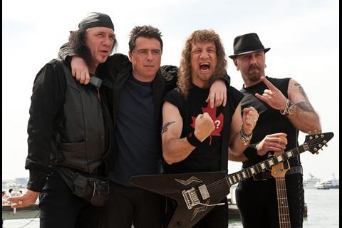 """(L-R) Musician Robb Reiner, director Sacha Gervasi, musician Steve 'Lips' Kudlow and musician Glenn Five of Canadian rock band """"Anvil"""" at the photo call of """"Anvil"""" at the 62nd Cannes Film Festival in Cannes"""